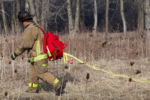 Potawatami Woods brush fire 3-11-12 Prospect Heights Fire Department wildland progressive hose pack