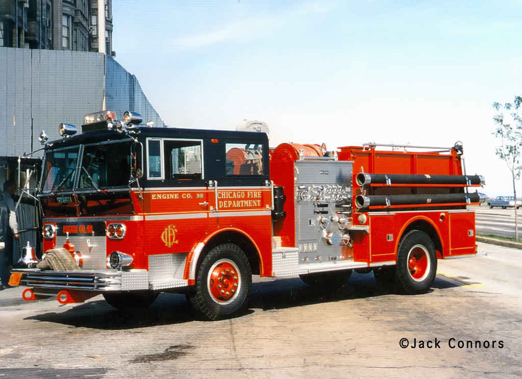 Chicago Fire Department history Ward LaFrance 1967 Engine 98