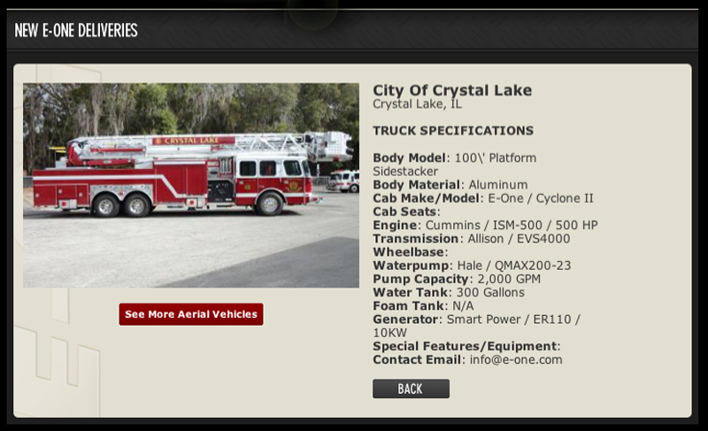 Crystal Lake Fire Department new tower ladder