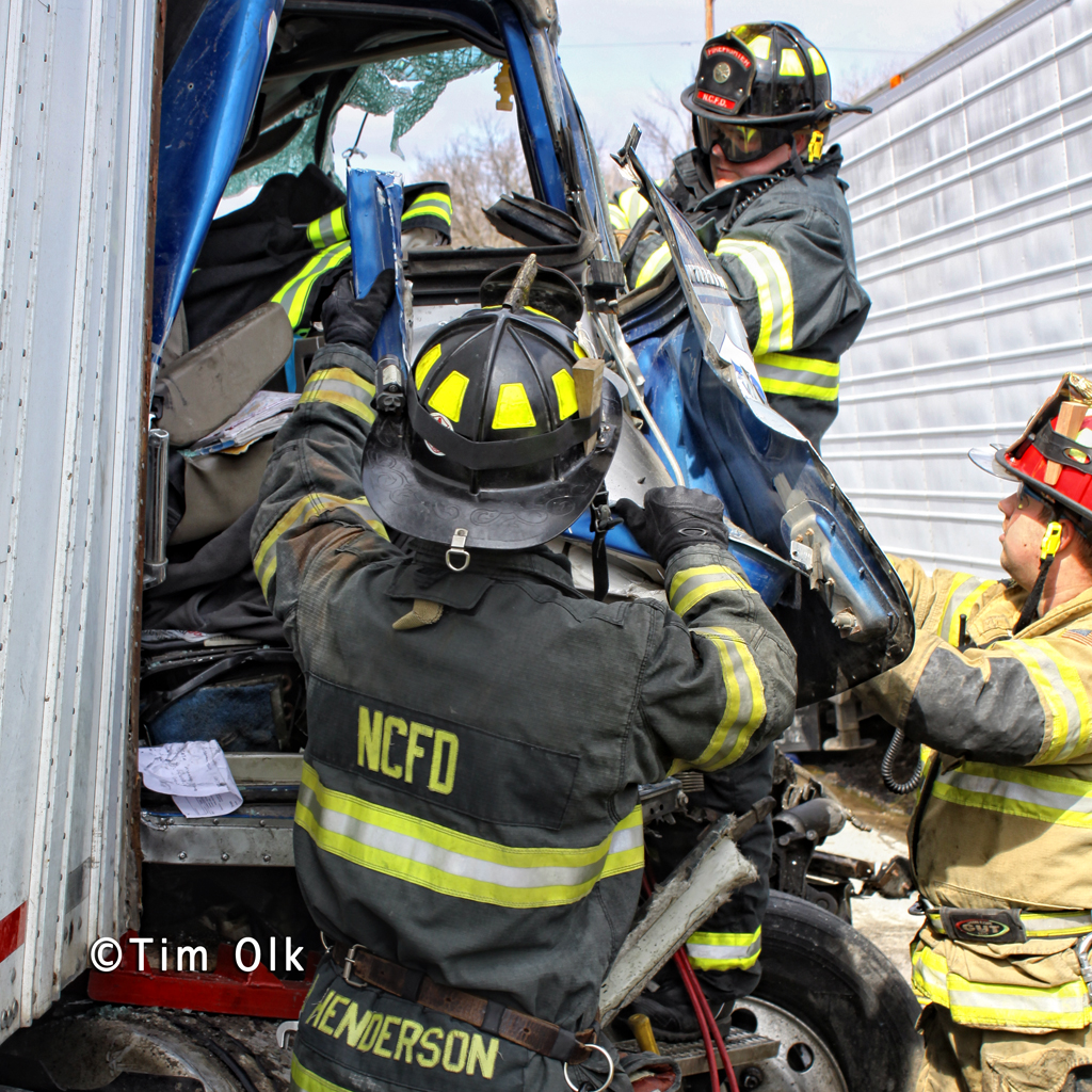 truck collision 3-8-12 Route 41 with trapped driver North Chicago Fire Department