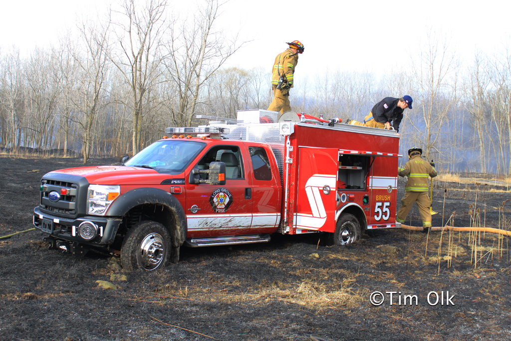 brush fire Potawatami Woods Prospect Heights 3-11-12 Long Grove Fire District Brush Truck 55