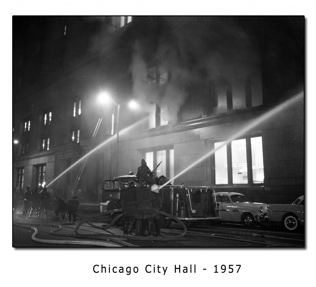 Historic photo of Chicago Fire Department City Hall Fire 1961