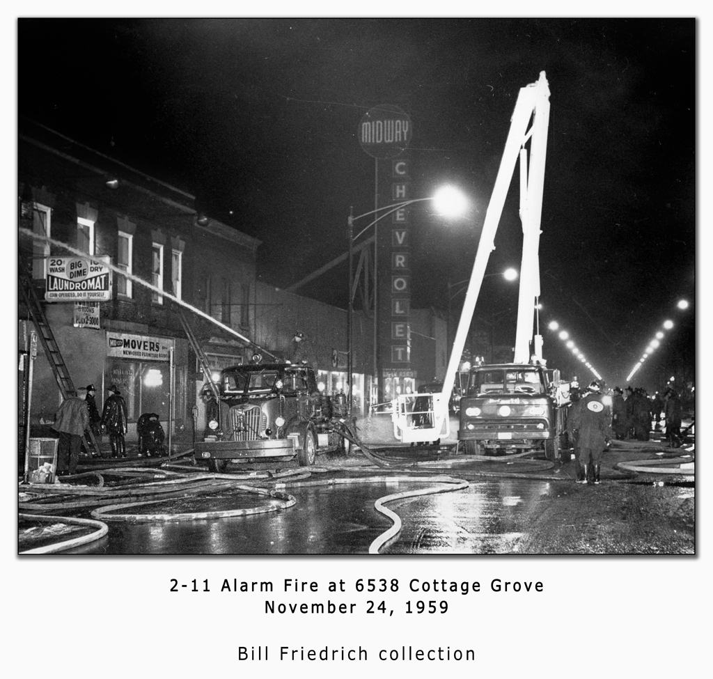 Chicago Fire Department historic fire photo 1959 2-11 alarm fire