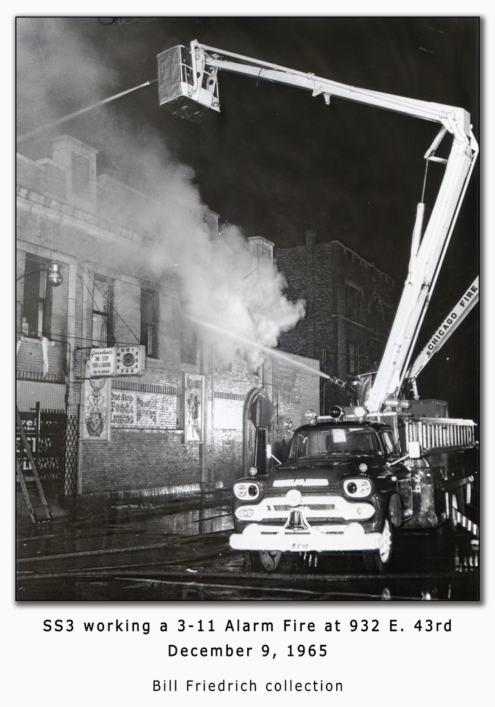 Chicago Fire Department historic fire photo 1965 3-11 alarm fire SS3 Snorkel Squad 3