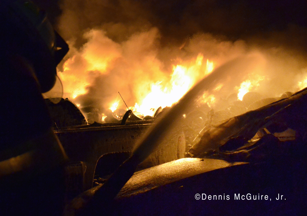 Large tire fire in Robbins IL 4-2-12 fighting fire with foam