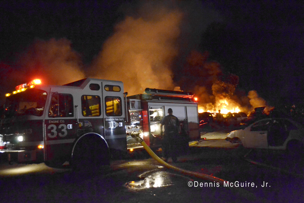 Large tire fire in Robbins IL 4-2-12 Dixmoor Fire Department engine