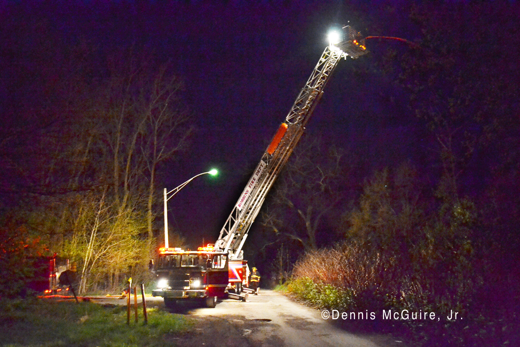 Large tire fire in Robbins IL 4-2-12 Robbins Fire Department tower ladder