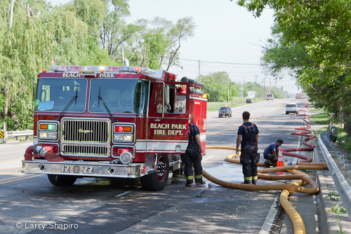Beach Park commercial fire 5-20-12 Seagrave Maurader II engine