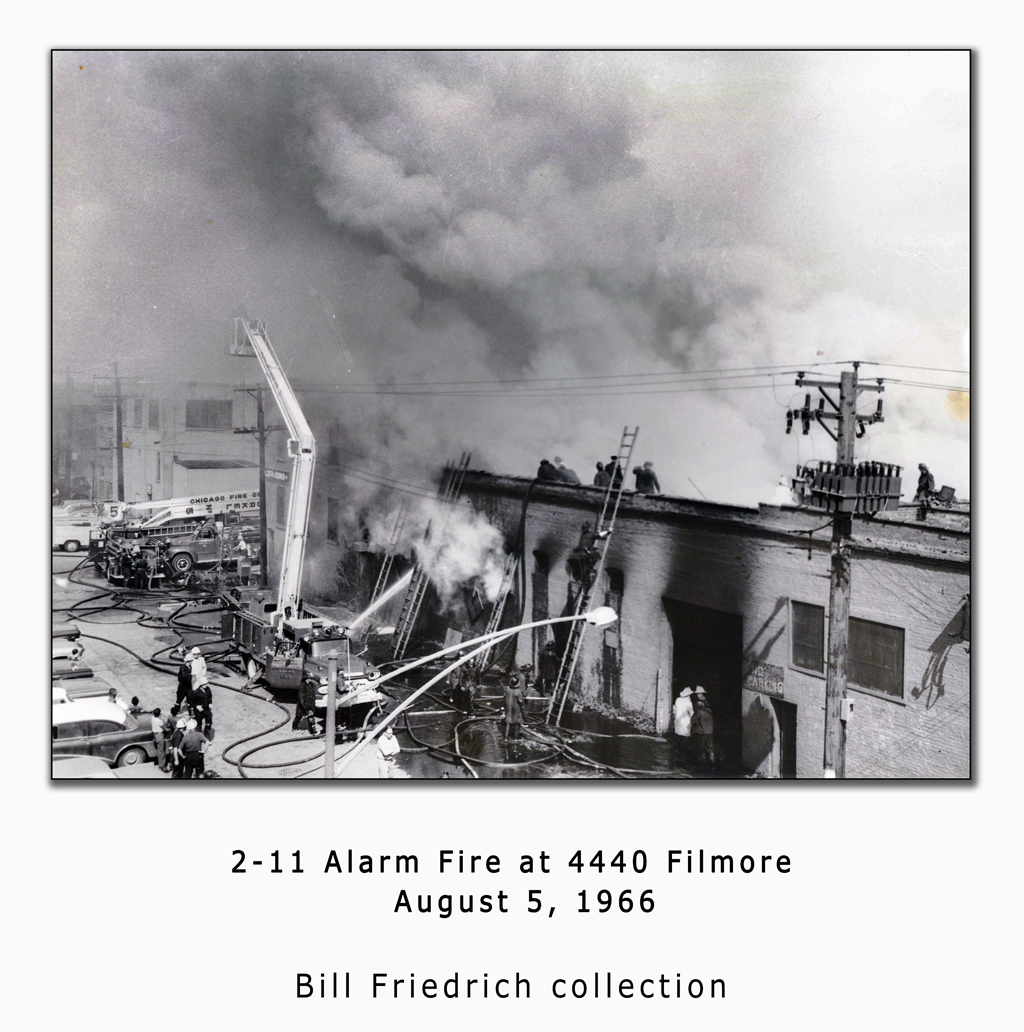Vintage Chicago fire photo 1966 at 4440 Filmore