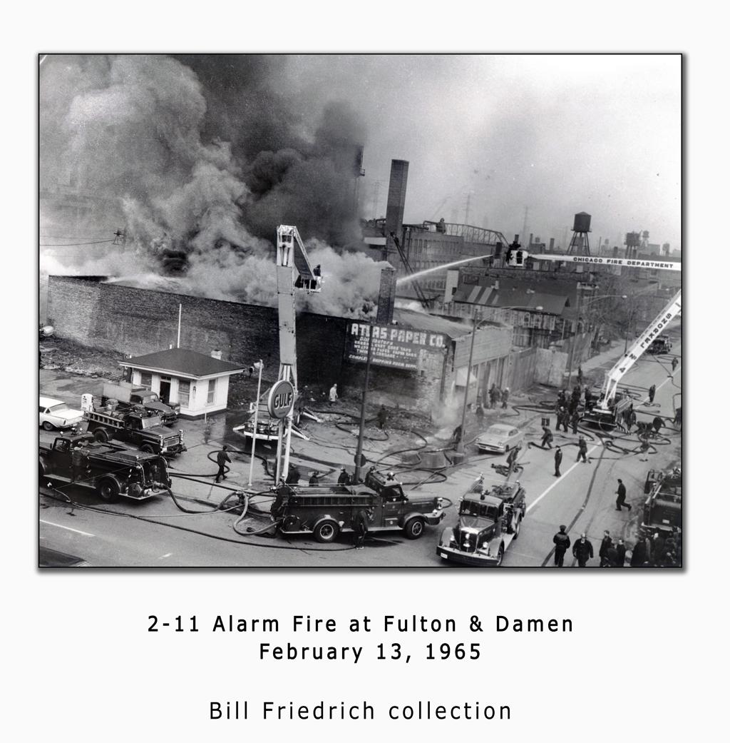 Vintage Chicago fire photo 2-13-1965 at Fulton & Damen