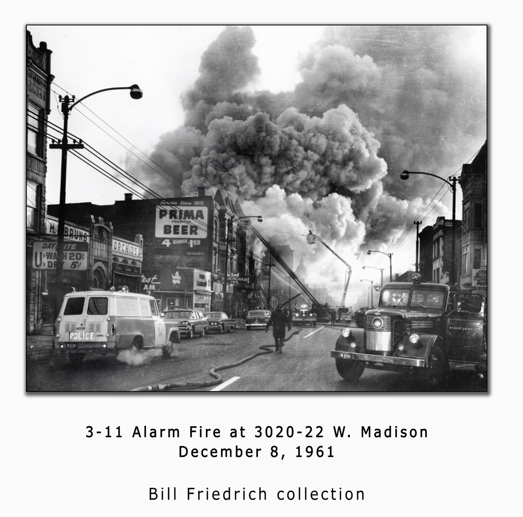 historic photo Chicago fire on Madison Street in 1961