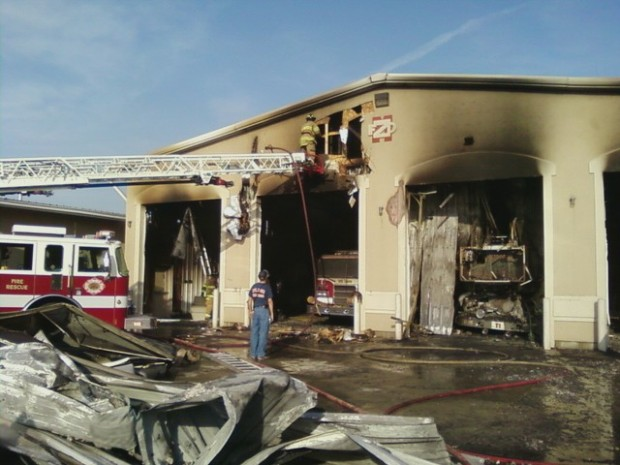 Mount Zion Fire Station and trucks damaged by fire