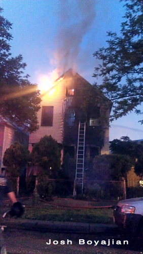 Chicago firefighters fight residential fire on 38th Street