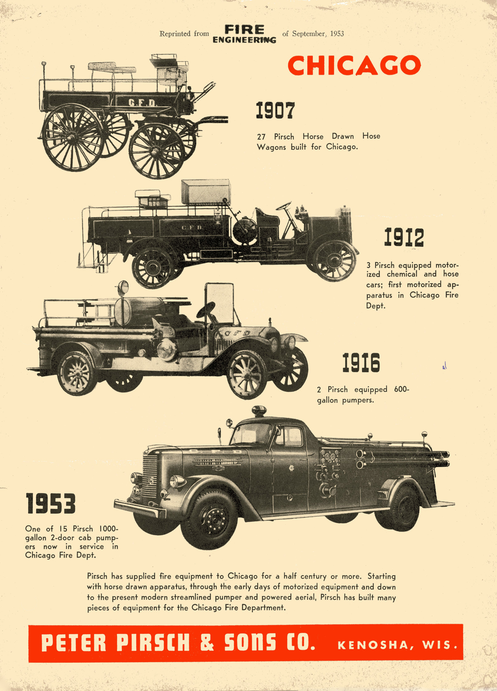 Peter Pirsch & Sons Co ad from 1953 Fire Engineering Magazine
