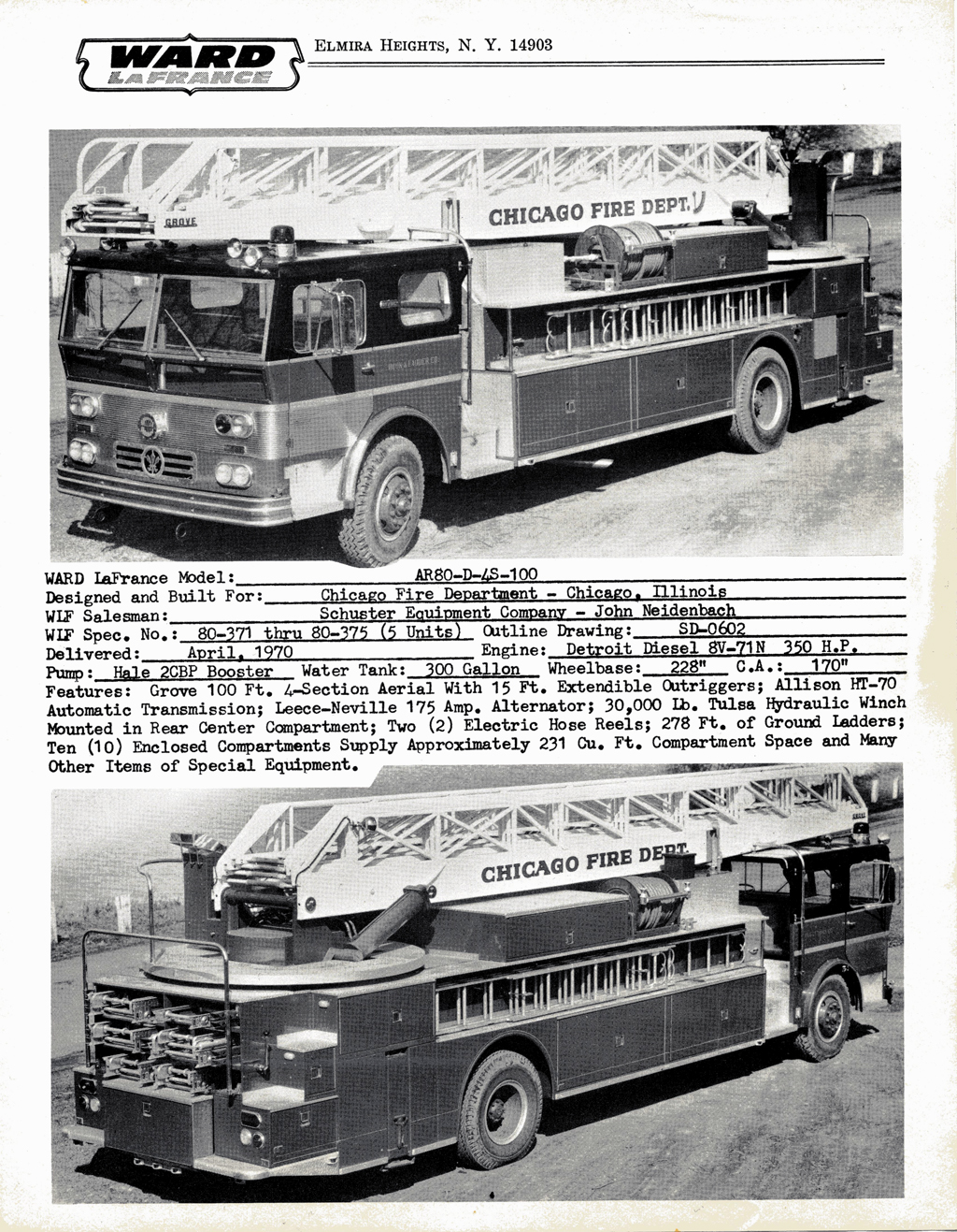 Ward LaFrance 1970 brochure with Chicago ladder trucks