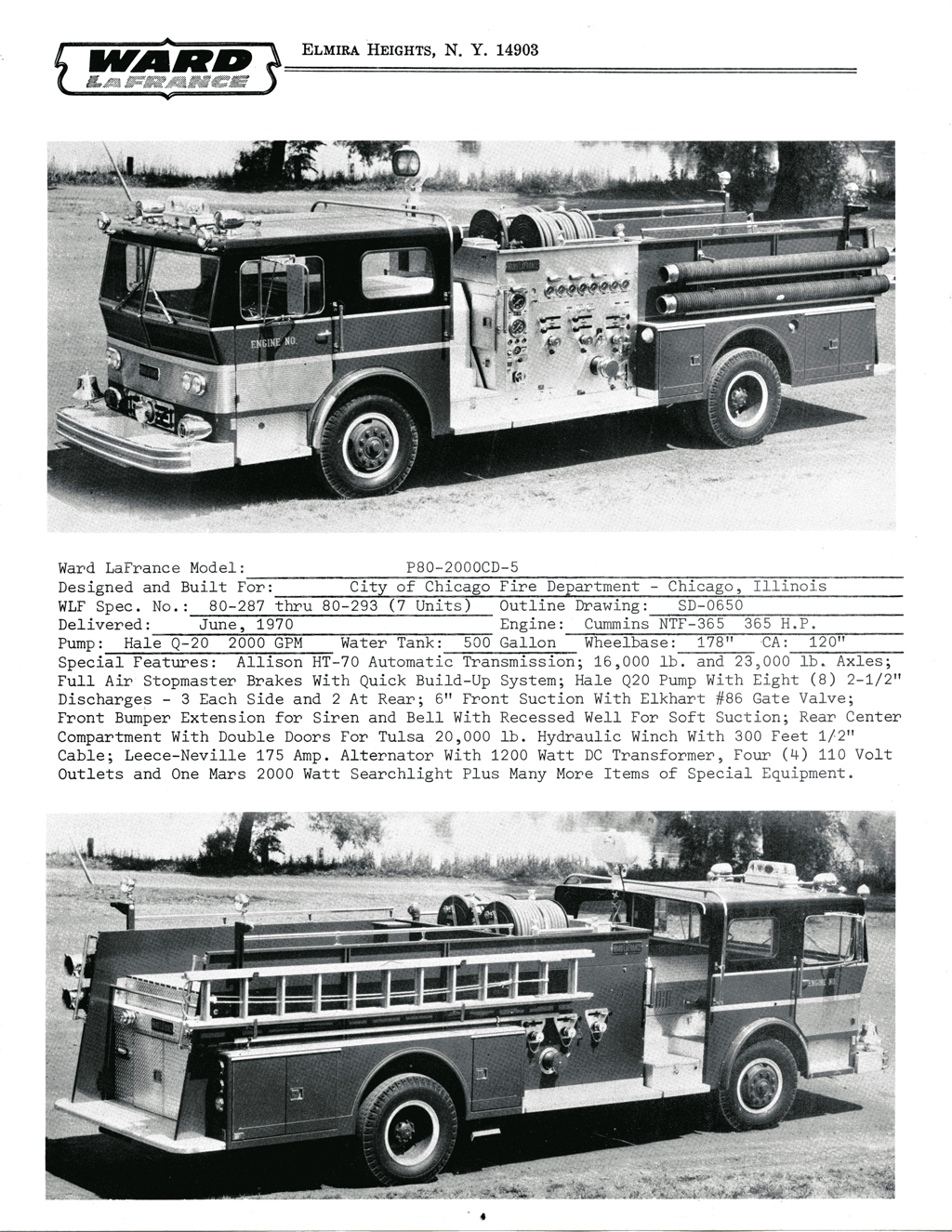 Ward LaFrance 1970 brochure with Chicago engines