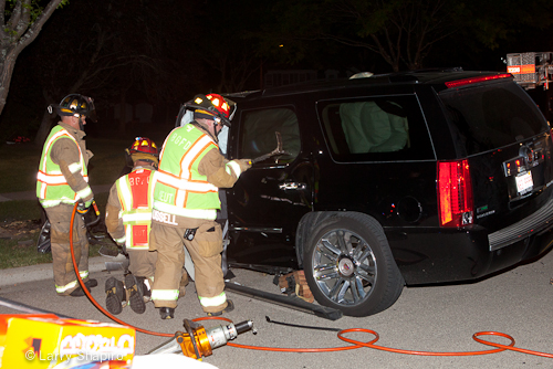 Buffalo Grove Fire Department rescues victim trapped in car on Brandywyn Lane 6-8-12 after collision with tree