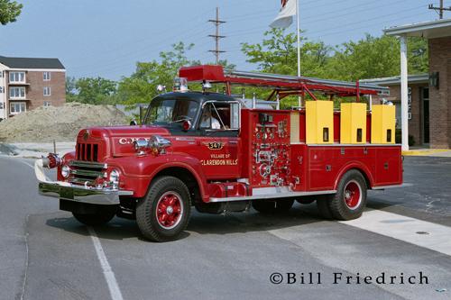 Clarendon Hills Fire Department red fire truck