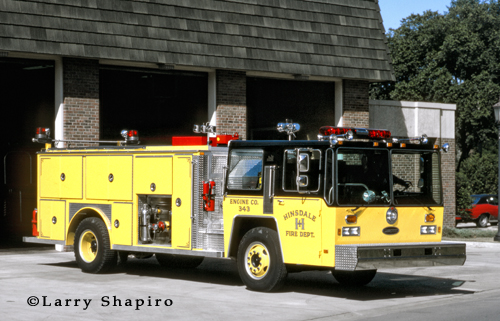 Hinsdale Fire Department EONE engine painted black and yellow