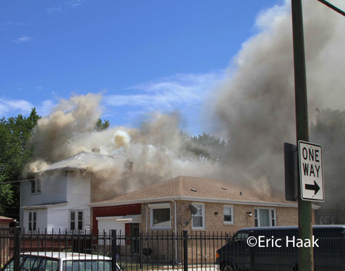 building fire in Chicago on West 111th Street July 8, 2012