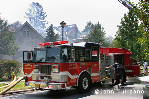 house fire on Tara Court in Wheaton 7-4-12 Seagrave engine