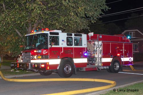 Arlington Heights Fire Department fire on Walnut Avenue 8-21-12 Pierce Quantum