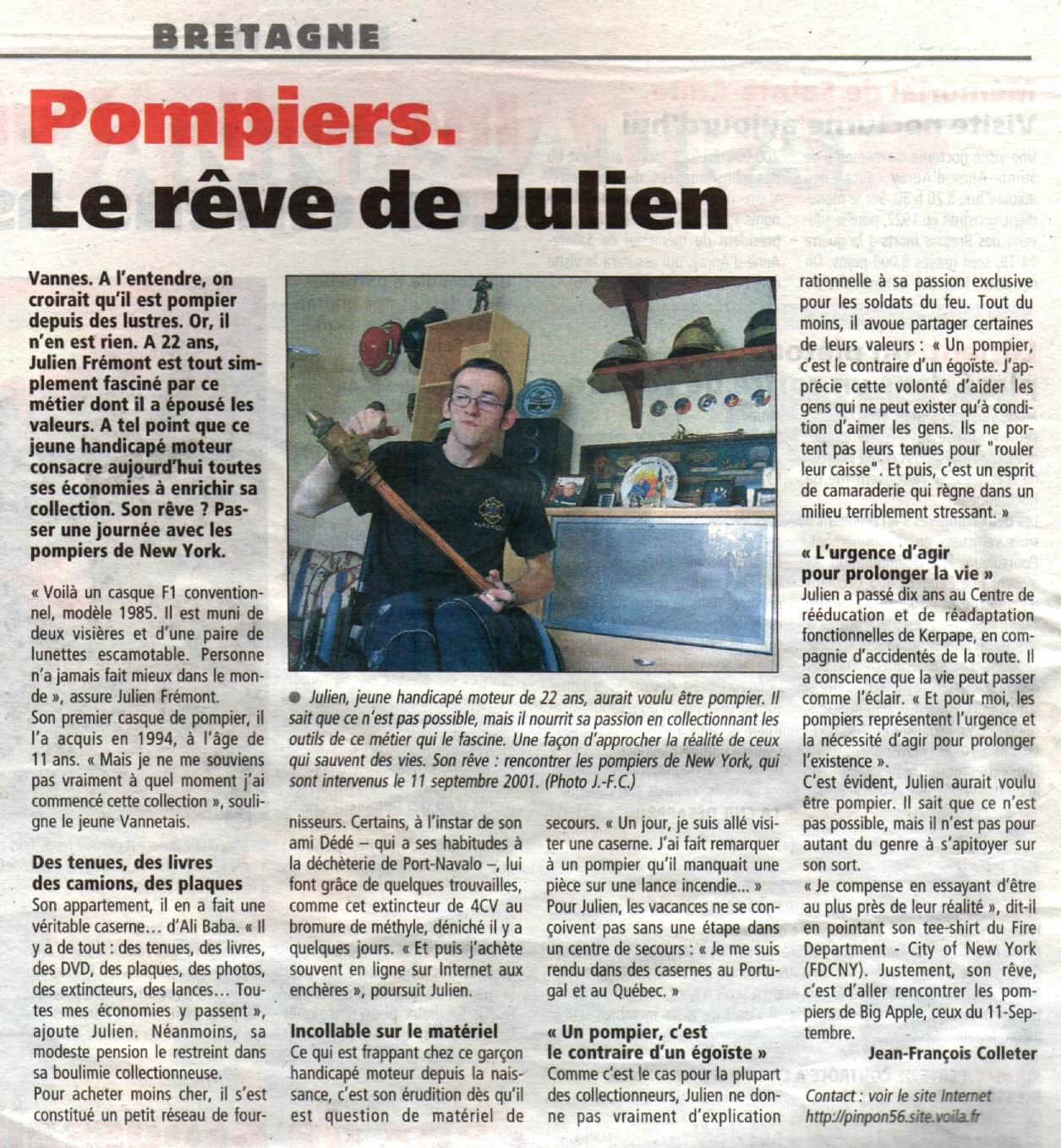 French article on fire memorabilia collector