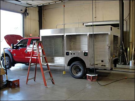 Alexis photo of a small fire rescue truck being built for the Batavia Fire Department