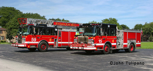 Chicago Fire Department Crimson engine and truck