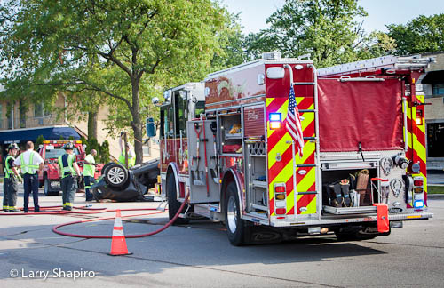 rollover crash in Glenview IL Fire Department Pierce Arrow XT