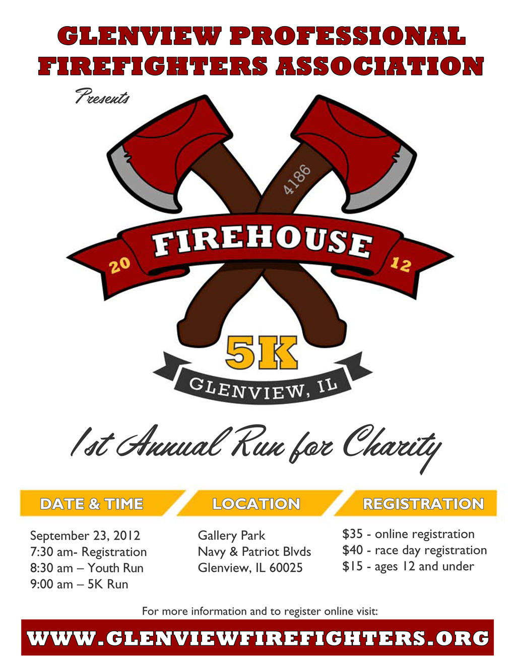 Glenview Firefighters Local 4186 firehouse 5K on 9/23/12