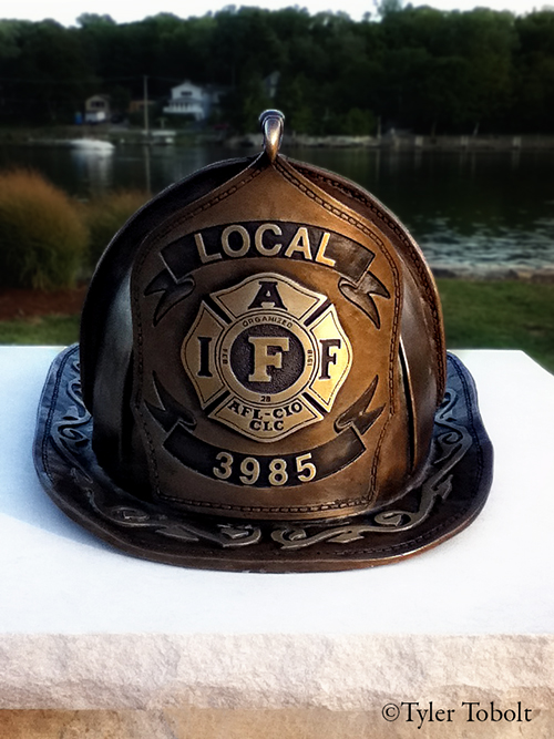 Algonquin Fire District Firefighter Memorial with 9/11 artifact
