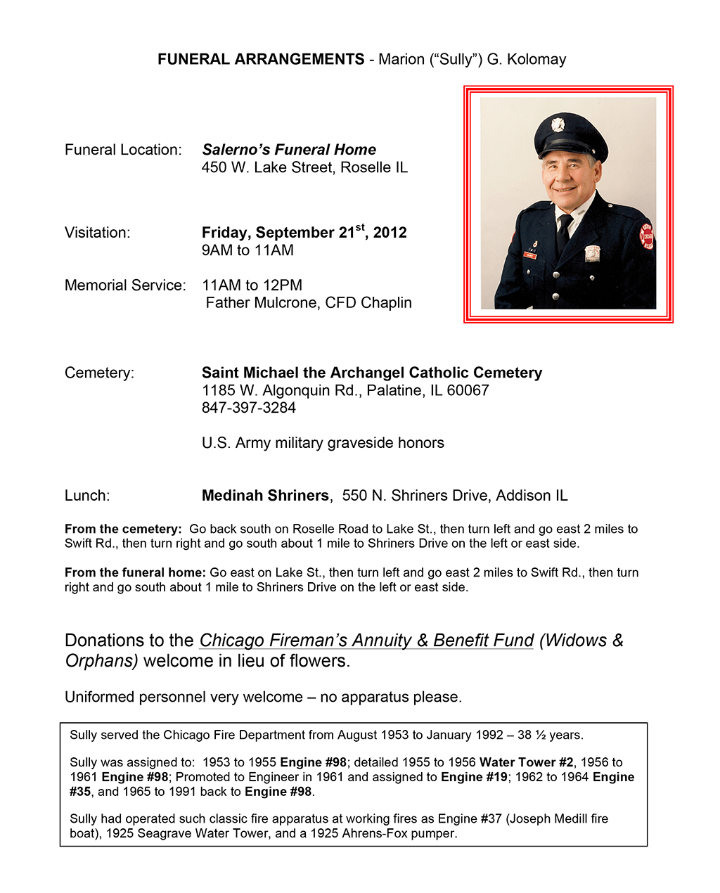 """Funeral arrangements for Marion """"Sully"""" Kolomay"""