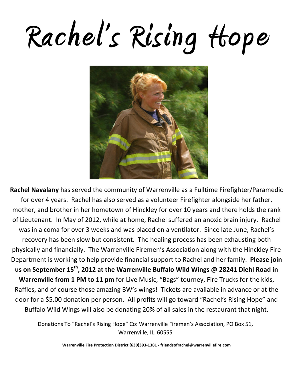 Benefit for Warrenville FF/PM Rachel Navalnay