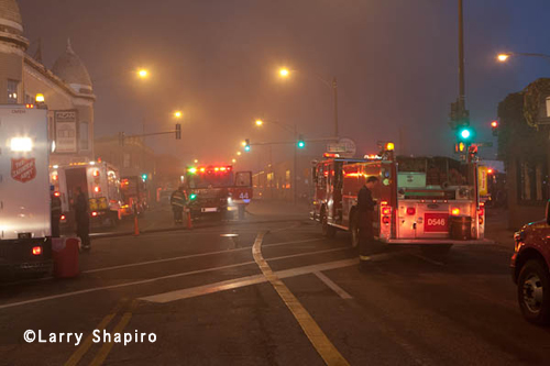 5-11 Alarm fire in a commercial warehouse in Chicago 9-30-12 on Nelson Snorkel