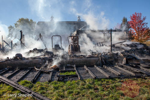 large barn fire in Barrington Hills IL 10-10-12 on Ridge Road