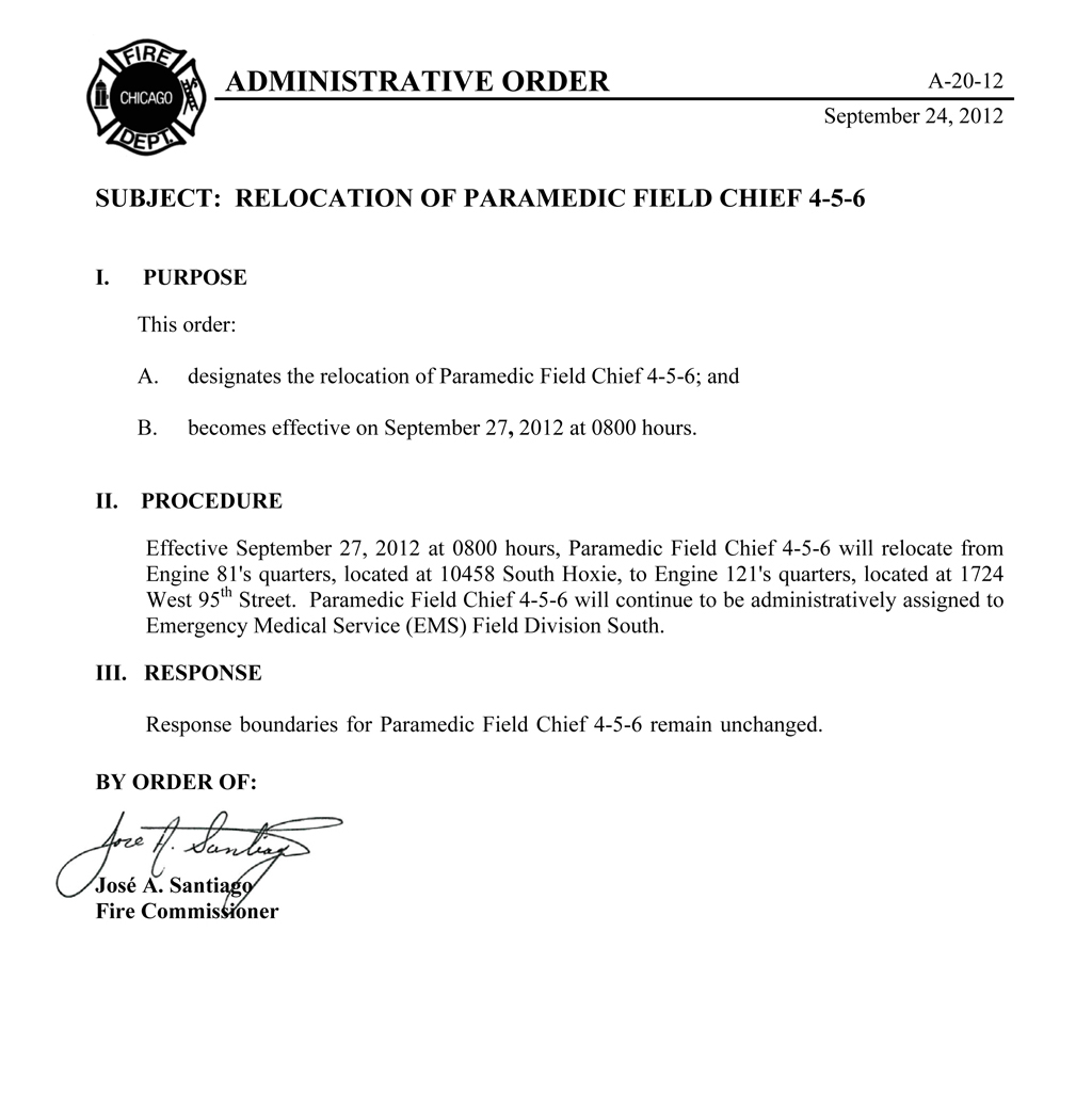 Chicago Fire Department Administrative Order A-20-12