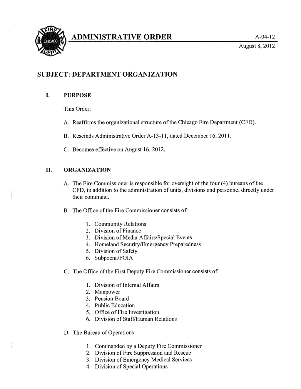 Chicago Fire Department Administrative Order A-04-12