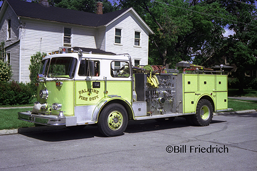 Palatine Fire Department Engine 14, a 1974 Seagrave PB Series with 500 gallons of water and a 1,500-GPM pump. Bill Friedrich photo