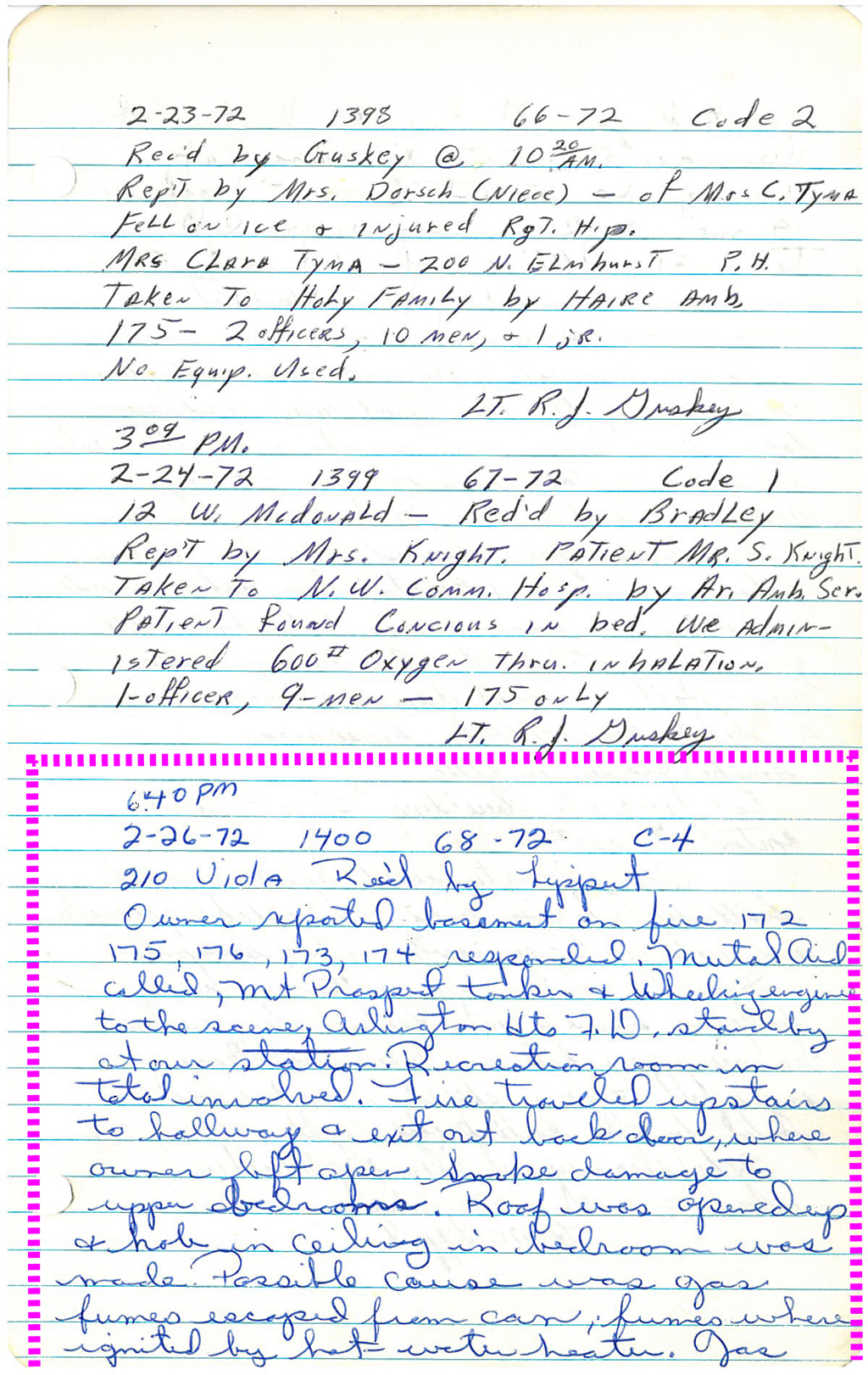 Prospect Heights Fire District history log book entry