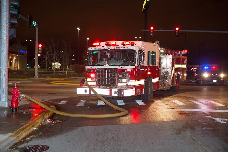 Berwyn Fire Department engine at fire scene