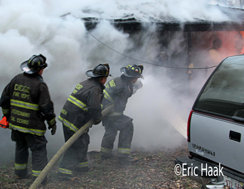 garage fire in Chicago on Laramie 11-13-12