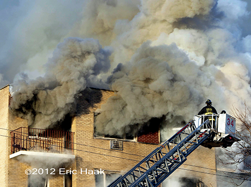 Chicago 3-11 Alarm apartment building fire 11-24-12 at 2030 W. 111th Street