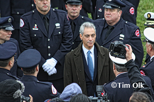 Chicago Mayor Rahm Emanuel at CFD Captain Herbie Johnson's funeral