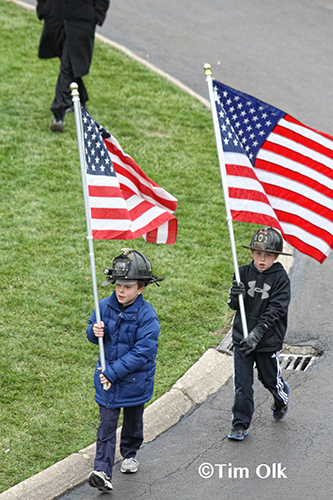 young boys honor CFD Captain Herbie Johnson