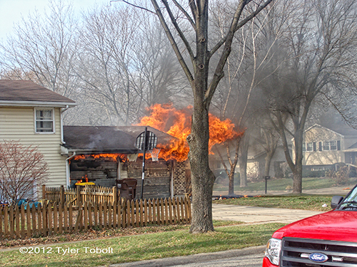 garage fire in Crystal Lake on Thanksgiving Day 11-22-12