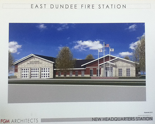 Artist drawing of proposed fire station for East Dundee FPD IL