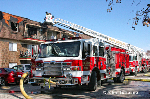 3rd Alarm apartment building fire in West Chicago 11-4-12 Pierce engine