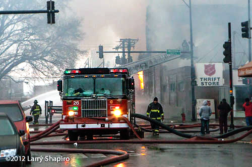 4-11 alarm commercial building fire in Chicago 12-29-12 at 2444 W. 21st Street Chicago Tower Ladder 54