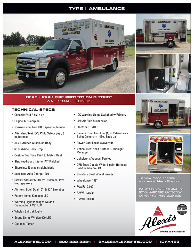 new AEV Type I ambulance for the Beach Park FD